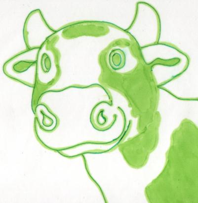 A happy green cow drawn in felt-tip pen.