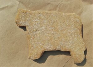 A picture of a cow-shaped biscuit from Henry's in Minchinhampton.